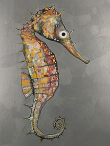 Floating Seahorse Metallic Embellished - Canvas Giclée Print