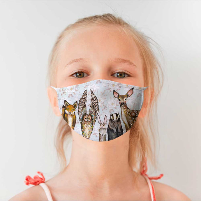 Forest Animals - Floral Cotton Jersey Face Mask