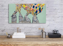 Load image into Gallery viewer, Four Wolves Howling  on Mint - Canvas Giclée Print