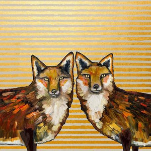 Fox Duo Metallic Embellished - Canvas Giclée Print