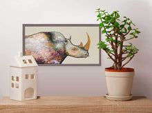 "Load image into Gallery viewer, Giant Rhinoceros - Cream Mini Print 10""x5"""