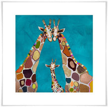 Load image into Gallery viewer, Giraffe Family in Turquoise - Canvas Giclée Print