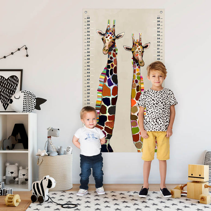 Giraffes on Cream Growth Chart for Siblings