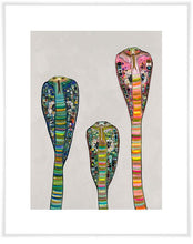 Load image into Gallery viewer, Glass Cobras on Soft Pewter - Canvas Giclée Print