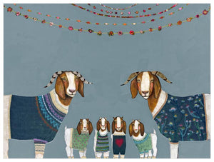 Goats in Sweaters Blue - Canvas Giclée Print