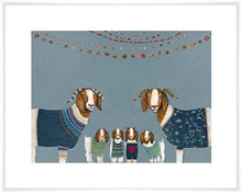 Load image into Gallery viewer, Goats in Sweaters Blue - Canvas Giclée Print