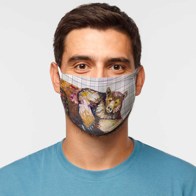 Grizzly Bear Dreams on Tartan Cotton Jersey Face Mask