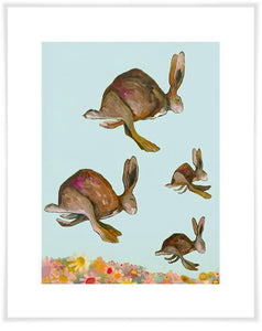 Happy Hopping on Blue - Paper Giclée Print