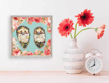 "Load image into Gallery viewer, Hedgehog Duo - Floral Bright Mini Print 6""x6"""