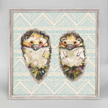 "Load image into Gallery viewer, Hedgehog Duo on Bohemian Pattern Mini Print 6""x6"""