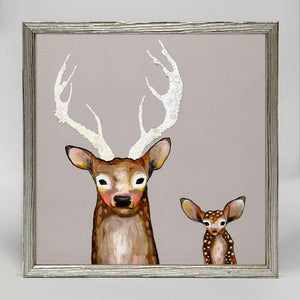 "Holiday - Frosted Buck and Baby - Silver Frame Mini Print 6"" X 6"""