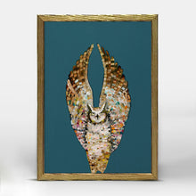 "Load image into Gallery viewer, Holiday - Owl Ballet - Dark - Gold Frame Mini Print 5"" X 7"""