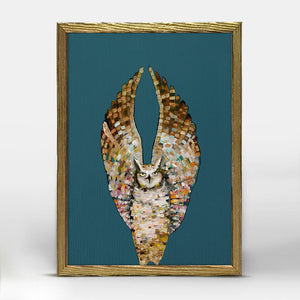 "Holiday - Owl Ballet - Dark - Gold Frame Mini Print 5"" X 7"""