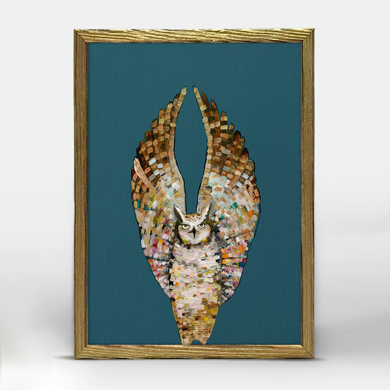 Holiday - Owl Ballet - Dark - Gold Frame Mini Print 5