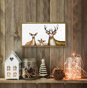 "Holiday - Flower Deer Family Embellished Mini Print 10""x5"""