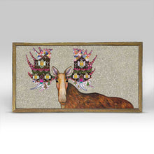 "Load image into Gallery viewer, Holiday - Gingerbread House Moose Embellished Mini Print 10"" x 5"""