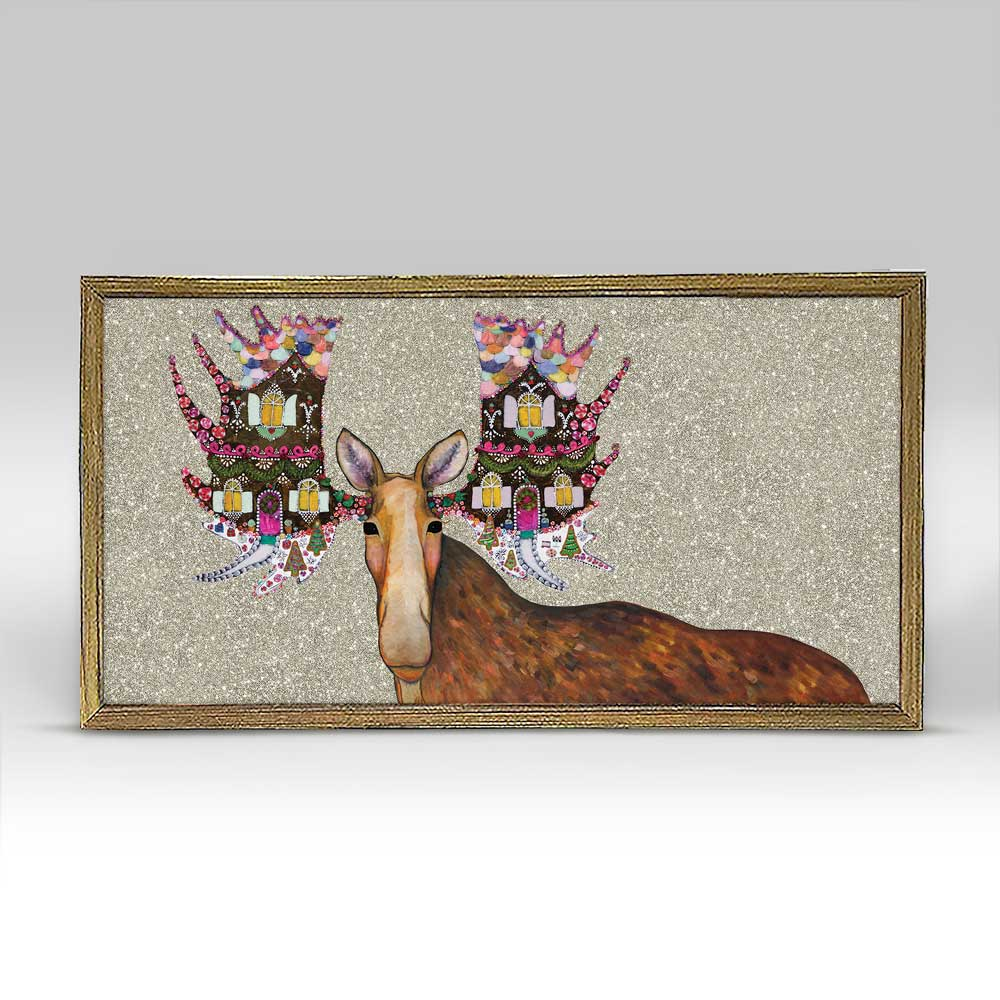 Holiday - Gingerbread House Moose Embellished Mini Print 10