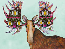 "Load image into Gallery viewer, Holiday - Gingerbread House Moose 30""x22.5"" Floorcloth"