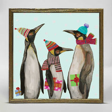 "Load image into Gallery viewer, Holiday - Penguins Embellished Mini Print 6""x6"""
