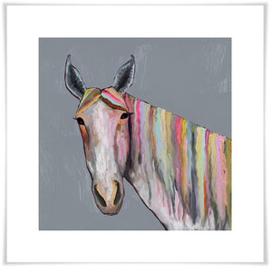 Horse On Gray - Paper Giclée Print