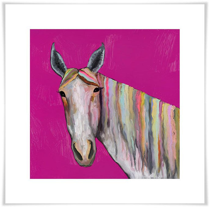 Horse On Pink - Paper Giclée Print