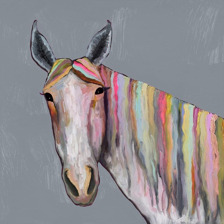 Horse On Gray - Canvas Giclée Print