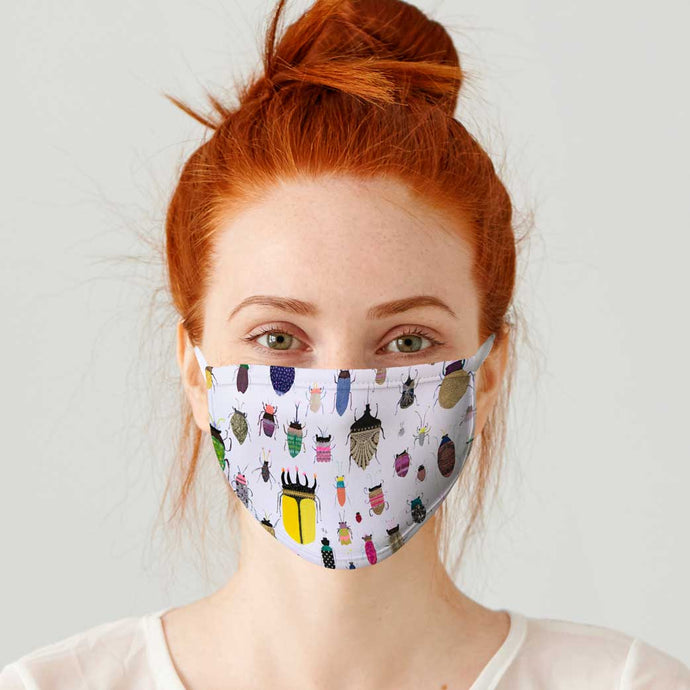 Insect Friends Cotton Jersey Face Mask