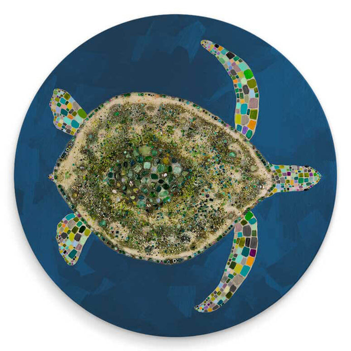 Jeweled Sea Turtle - Blue Coaster