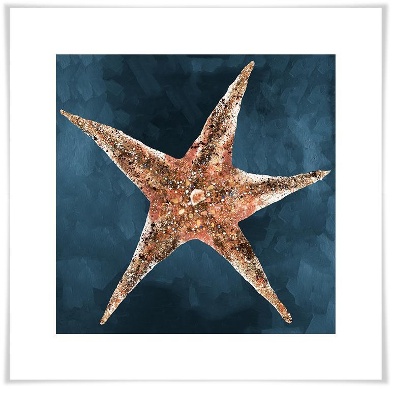 Jeweled Starfish in Deep Blue - Paper Giclée Print