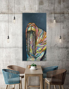 Jeweled Walrus on Blue - Canvas Giclée Print