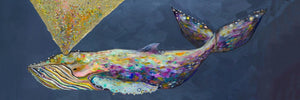 Jeweled Whale Spray in Wisteria - Canvas Giclée Print