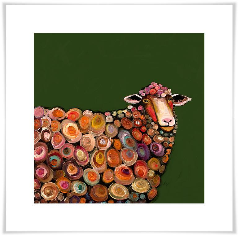 Lamb on Olive Green - Paper Giclée Print