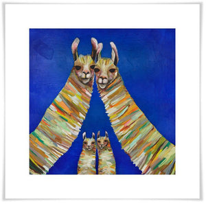 Llama Family of Four - Paper Giclée Print