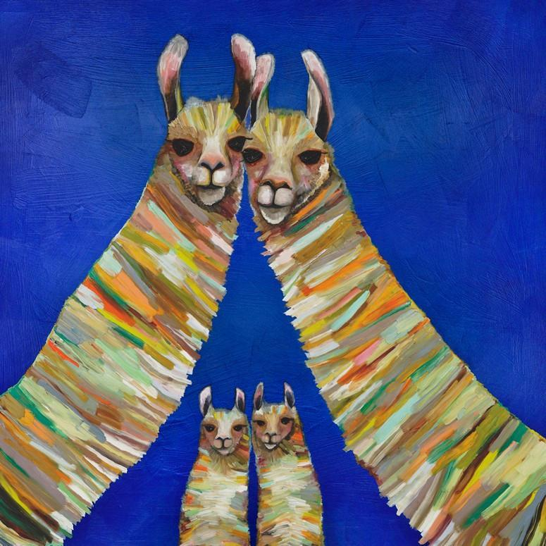 Llama Family of Four - Canvas Giclée Print