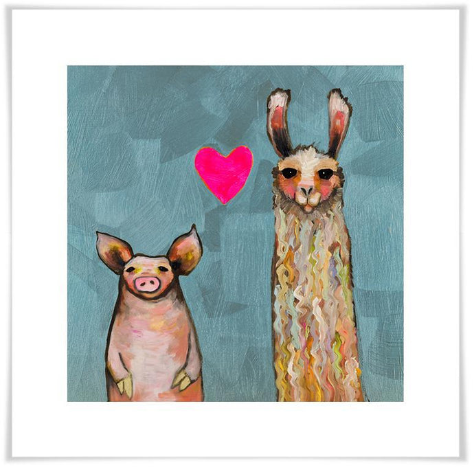 Llama Loves Pig in Blue - Paper Giclée Print