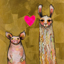Load image into Gallery viewer, Llama Loves Pig in Gold - Canvas Giclée Print