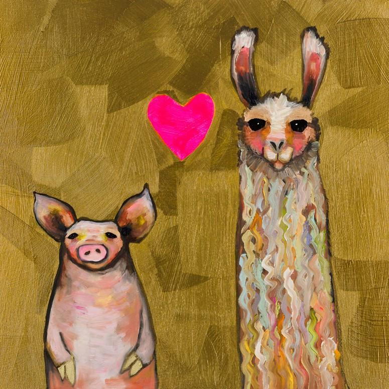 Llama Loves Pig in Gold - Canvas Giclée Print