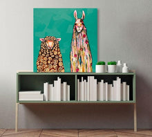 Load image into Gallery viewer, Llama Loves Sheep on Teal - Canvas Giclée Print