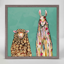 "Load image into Gallery viewer, Llama Loves Sheep on Teal Mini Print 6""x6"""