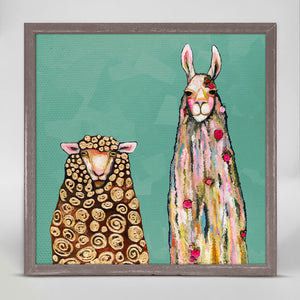 "Llama Loves Sheep on Teal Mini Print 6""x6"""