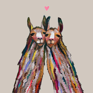 Llama Love Neutral - Canvas Giclée Print