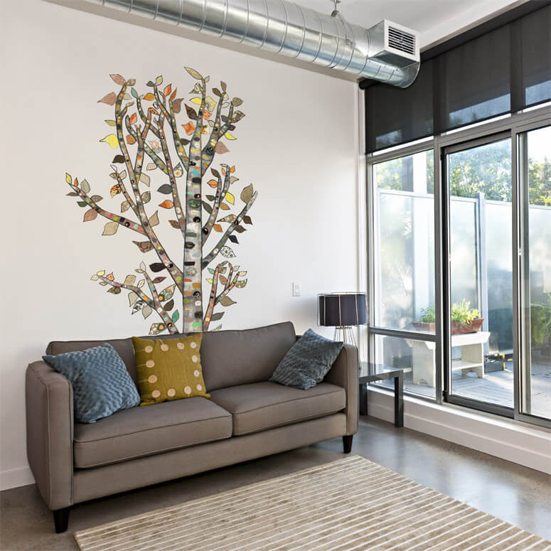 Lone Birch Tree Wall Decal 54