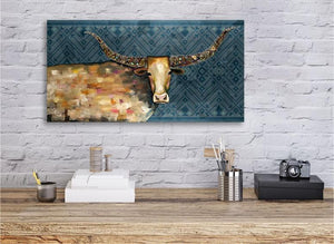 Longhorn Geode Tribal Blue - Canvas Giclée Print