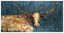 Load image into Gallery viewer, Longhorn Geode Tribal Blue - Canvas Giclée Print