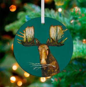 Holiday - Merry Moose Ceramic Ornament