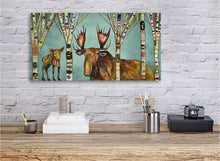 Load image into Gallery viewer, Moose Birch Tree Forest - Canvas Giclée Print