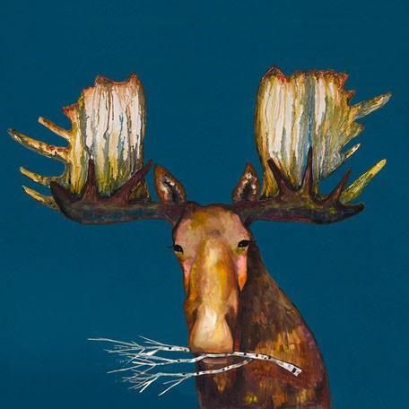 Moose With Branch - Canvas Giclée Print