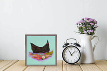 "Load image into Gallery viewer, Nesting Hens - Black Hen Mini Print 6""x6"""