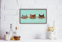 "Load image into Gallery viewer, Nesting Hens - Trio Mini Print 10""x5"""