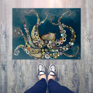 "Octopus in the Deep Blue Sea 30""x22.5"" Floorcloth"